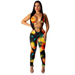 $enCountryForm.capitalKeyWord UK - Women Summer Bodycon Jumpsuits Printed Cut Out Sexy Night Club Party Overalls Rompers Skinny High Waist Playsuits