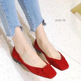 Soft Soled Shoes Australia - Spring new Korean version of color joker metal buckle flat head flat shoes for women with soft sole and light mouth suede single shoes