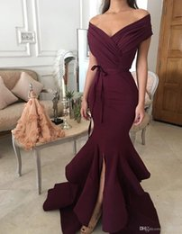 7a155395eabb New Burgandy Mermaid Prom Dresses with Off Shoulder V Neck Sleeveless Split Floor  Length Ruching Bow Belts Sexy Wine Trumpet Evening Gowns