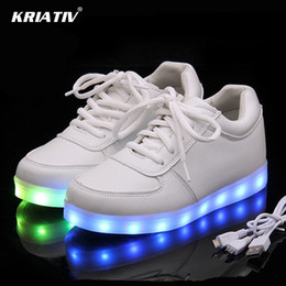 $enCountryForm.capitalKeyWord Australia - Kriativ Usb Charger Lighted Shoes For Boy&girl Glowing Light Up Trainers Kid Casual Luminous Sneakers Led Slippers MX190726 MX190727
