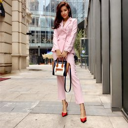 Double Breast Dresses NZ - Customized new women's double-breasted suit two-piece suit (coat + pants) fashion solid color suit women's business office official dress