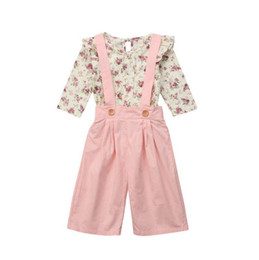 Wholesale spring overall for sale – dress kids designer clothes girls Floral outfits children Flower tops strap pants set Spring Autumn baby Overalls Clothing Sets C6720