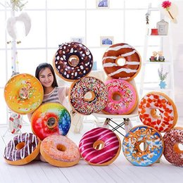 car pillows NZ - 3D Creative Plush Donut Food Stuffed Pillow Sofa Chair Back Car Cushions Mat Cute Simulation Cushion Soft Cushion Plush Toy