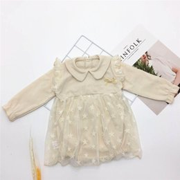 $enCountryForm.capitalKeyWord Australia - New Spring Autumn Toddler Baby Girls Fly Ruffles Long Sleeve Lace Dress Rompers Pink White Turn-down Collar Front Tie Newborn Jumpsuits 0-2T