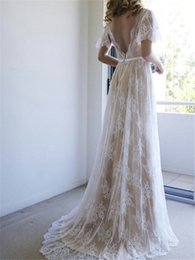 Autumn Colored Wedding Dresses UK - 2019 A-line Vintage Lace Champagne Colored Wedding Dresses With Flutter Sleeves Sexy V Neck Low Back Boho Informal Bridal Gowns With Color