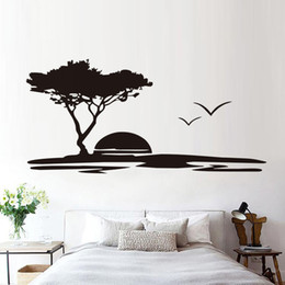 $enCountryForm.capitalKeyWord UK - 1 Pcs Forest Big Tree And Seagulls Nature Wall Stickers Seaside Sunset Scenery Living Room Wall Mural Vinyl Removable Decal Home Decor