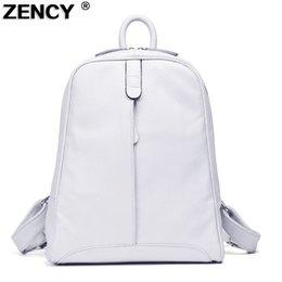 $enCountryForm.capitalKeyWord Australia - Zency 2019 Women\'s 100% Natural Real Genuine Leather Cowhide Black White Gray Beige Backpacks Ladies\'s Schoolbag Teenagers Bag Y19061102