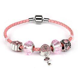 Key Bead Bracelet Australia - Pink Genuine Lether Charm Bracelet With Pink glass beads Key Heart beads Bracelets for Women Wedding Vintage Jewelry love gift