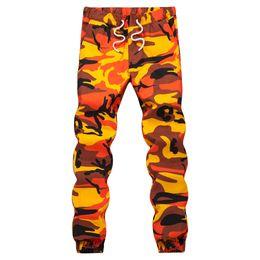 Orange Cotton Australia - Orange Camouflage Jogger Pants Men Hip Hop Woven Casual Pants Tactical Military Trouser Pockets Cotton 2019 Sweatpants