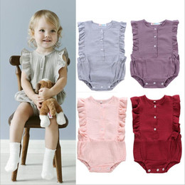 top girl fashion designers 2019 - Kids Designer Clothes Girls Rompers Infant Summer Ruffle Jumpsuits Fly Sleeve Toddle Fashion Onesies Infant Solid Bodysu