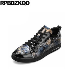 height increase deluxe men fashion printed stud runway trainers skate rivet  elevator patent leather shoes brand famous sneakers c82ce6a71209