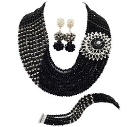 $enCountryForm.capitalKeyWord UK - Black and Silver African Necklace Jewelry Set Nigerian Wedding Accessories Crystal Bridal Party Jewelry Sets for Women 10JZ01