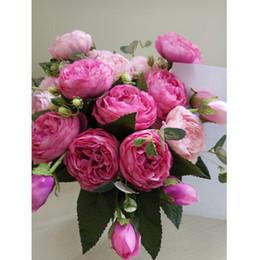 $enCountryForm.capitalKeyWord Australia - Silk Rose Peony Artificial Flowers Beautiful Flores Bouquet for Wedding Party Home Decoration Fake Flowers