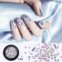 3d nail diamond wholesale Canada - 1 Box Nail Art Jewelry Mixed Colorful Rhinestones for Nails 3D Crystal Stones DIY Design Manicure Diamonds Nail Art Supplies