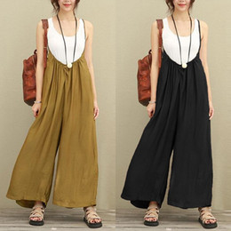 $enCountryForm.capitalKeyWord Australia - wholesale Jumpsuits Women Cotton Linen Big Wide Leg Pants Long Trousers Rompers Vacation Dungarees Long Trousers Fashion Overalls