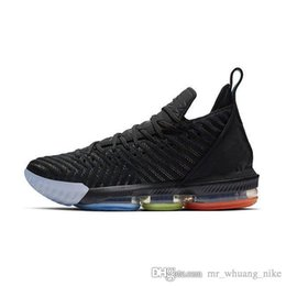 new style a3145 e1429 Cheap Womens lebron 16 basketball shoes for sale Promise Black Multi color  Boys Girls Youth Kids sneakers tennis with box