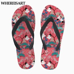 3d Flips Australia - WHEREISART 3D Japanese Garden in Red Vivid Summer Flip Flops for Teenage Girls Flats Rubber Beach Ladies Slip-on Woman Slippers