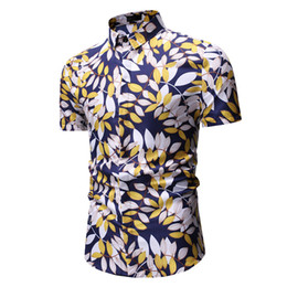 Mens Plus Size Silk Shirts Canada - 2019 Fashion Floral Mens Shirts Plus Size Flower Printed Casual Camisas Masculina Male Shirt good quality