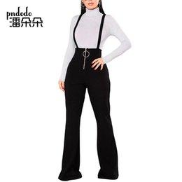 $enCountryForm.capitalKeyWord Australia - Pndodo Wide Leg High Waist Women Pants Straps Casual Elegant Flare Pants New Spring Autumn Front Zipper Suspenders Long Trouser Y190430