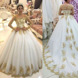 Gold Gown Wedding Dresses NZ - Luxury Gold Shiny Appliques Ball Gown Wedding Dresses Dubai Arabic Long Sleeves Court Train Plus Size Bridal Gowns Illusion Summer Dress