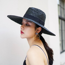 large brim straw NZ - wholesale Sun Hat X Large Brim Wheat Straw Panama Fedora Hat Summer Straw Hats for Women Floppy hat with Ribbon Bow