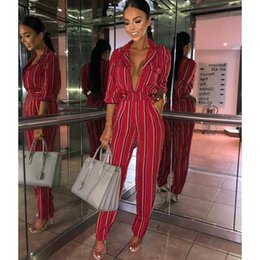 Plus Size V Neck Jumpsuit Australia - Fashion Striped Print Jumpsuits Women 2019 Spring Sexy Deep V Neck Rompers Overalls Elegant Women High Waist Jumpsuit Plus Size