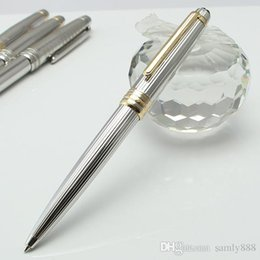$enCountryForm.capitalKeyWord Australia - Top Trade M pen full Silver metal lines metal Ballpoint Rollerball pen stationary supplies monte metal pen with serial numbers