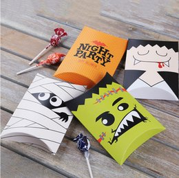Wholesale Cute Halloween Ghost Pillow Boxes Candy Paper Gift box for Party Favor Packing box