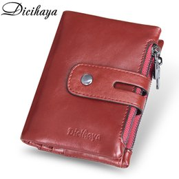 cash organizer wallet NZ - Dicihaya Genuine Leather Women Wallet Brand Cash Purse Girl Small Red Clutch Coin Purses Holders Leather Double Zipper Wallets Y190701