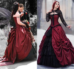 dropped wedding dresses NZ - Amazing Red And Black Gothic Ball Gown Wedding Dresses Medieval Vampire Bride Dress Lace Up Wedding Gowns robe de mariee 2020