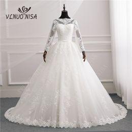 $enCountryForm.capitalKeyWord NZ - High Quality Full Sleeve Pure White Ivory Appliqued Lace Tulle Sweet Neck Train Wedding Dresses Vestidos De Novia wedding Gown