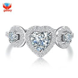 Cz Heart Cluster Ring Australia - Romantic Christmas Gift Real 925 Sterling Silver Ring Jewelry Heart Shape CZ Diamond Wedding Engagement Rings for Women ZR094