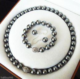 $enCountryForm.capitalKeyWord Australia - Women's cospay women's Hair full wigs 10mm Black Shell Pearl Crystal Clasp Earrings Bracelet Necklace Set style