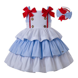 LoLita cLothing online shopping - Pettigirl Summer Slubbed Cotton Princess Girl Dress Wedding Party Dress With Headwear Double Bows kids summer clothes girls G DMGD201 A279