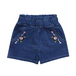 cute baby girl denim pants 2019 - Embroidery Flower Print Cotton Short Pants Toddler Casual Denim Bottoms Clothing New Summer Cute Baby Girl Short Pants d