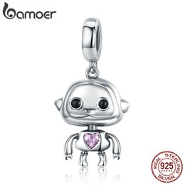 $enCountryForm.capitalKeyWord NZ - 925 Sterling Silver Robot Pendant Charms Fit Bracelets Necklaces DIY Jewelry Making Children Gift Anniversary birthday Gift