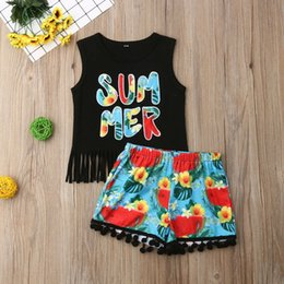 $enCountryForm.capitalKeyWord Australia - Summer Baby Girls Princess Clothes Casual Kids Girl Sleeveless Black Letter Printed Tassel T-shirt Floral Printed Shorts Outfits