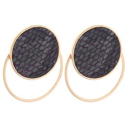 Red Leather Dresses Australia - Brandjewelryyy new products high quality women's fashion jewelry charm bright leather stainless steel round earrings style luxury dress earr