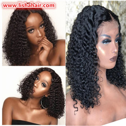 Black Big Curl Wigs Australia - Curly Lace Front Wig Short Bob Human Hair Wigs For Women Black Brazilian deep curl Lace Wig Pre Plucked Remy