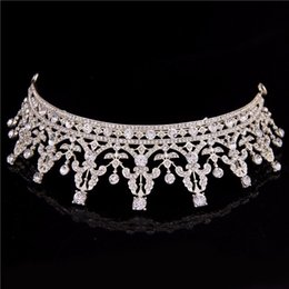 hair crowns for brides UK - FORSEVEN Hair Jewelry Silver Crystal Tiara Crown For Wedding Bride Hair Accessories Women Queen Crown Wedding Hiar Jewelry HG003
