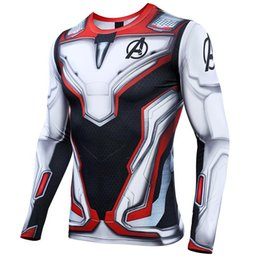costume cosplay top white NZ - Avengers 4 Endgame Quantum War 3d Printed T Shirts Men Compression Shirt Cosplay Costume Long Sleeve Tops For Male Fitness Cloth SH190715