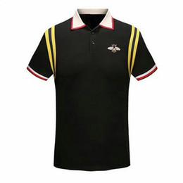 White tshirt polo online shopping - 2019 summer designer brand clothing men fabric striped sleeve polo embroidery bee t shirt turn down collar casual women tshirt tee t shirt