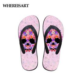 $enCountryForm.capitalKeyWord NZ - WHEREISART Skull Floral Fashion Women's Flip Flops Summer 2019 Flats Slip-on Home Ladies Slippers Woman Beach Light Shoes Flats