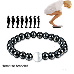hematite fashion jewelry Australia - Black Magnetic Hematite Bracelet Stone Bead String Wristband Bangle Cuff for Women Mens Power Healthy Fashion Designer Jewelry 162548