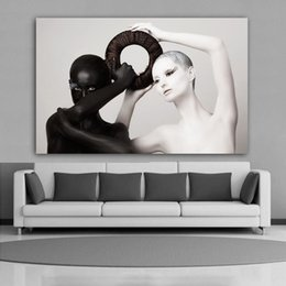 bedrooms paintings black white Australia - 1 Piece Black And White Women Poster Canvas Painting Modern Home Decoration Wall Art Pictures For Living Room Bedroom No Frame