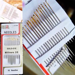 Venta al por mayor de ENVÍO DE GOTA 320 UNIDS / Cola de Agujas de Coser A Mano de Acero Inoxidable Chapado en Oro Paquete de Caja de Papel Inicio DIY Costura Combinación de Herramientas de Costura de Suministro