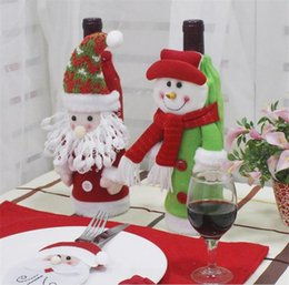 gift bags dhl shipping 2019 - Santa Claus Wine Bottle Cover Gift Snowflake Elf Bottle Hold Bag Case Snowman Xmas Home Christmas Decoration Decor DHL S