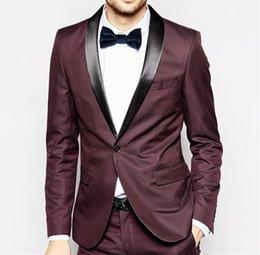 $enCountryForm.capitalKeyWord Australia - Brand New Groomsmen Shawl Black Lapel Groom Tuxedos Wine Men Suits Wedding Prom Dinner Best Man Blazer ( Jacket+Pants+Tie) NO:1307