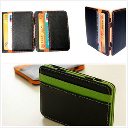 candy wallets wholesale Canada - Ultra Thin Mini Men Wallet Small PU Leather Mini Size Magic Band Solid Color Card Holder Zipper Coin Purse Credit Bank Card Case