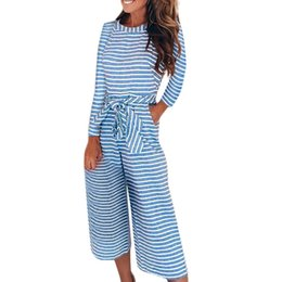 $enCountryForm.capitalKeyWord UK - Women Jumpsuits Long Sleeve Stripe Lady Lace Up Loose Playsuit Long Wide leg Jumpsuits Women Romper Clothes